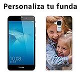 Mookase Funda Carcasa Personalizada para tu móvil Huawei con Foto, Imagen o Texto. Flexible, Bordes Transparentes (GT3 Honor 5C, Gel Flexible)