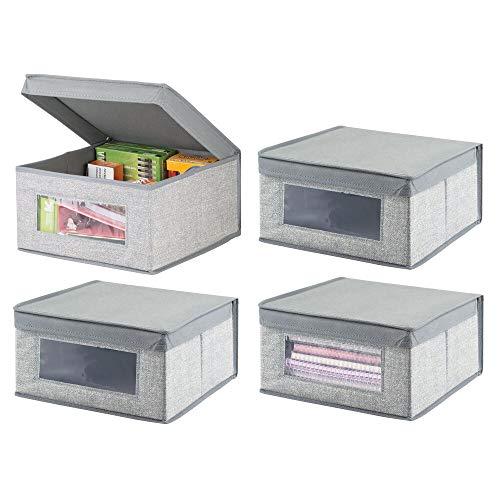 mDesign Juego de 4 Cajas organizadoras apilables – Gran Organizador de armarios con Ventana para despacho, Dormitorio o Sala de Estar – Caja con Tapa de Fibra sintética – Gris