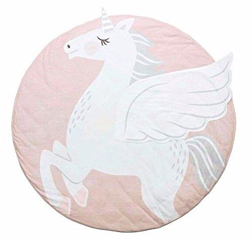 Baby Krabbeldecke Rund Einhorn Motiv Nordic Rosa Weiss Grau Teppich Kinderzimmer Deko