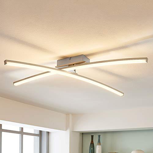 Lindby LED Deckenleuchte 'Laurenzia' dimmbar (Modern) in Alu aus Metall u.a. für Wohnzimmer & Esszimmer (2 flammig, A+, inkl. Leuchtmittel) - Lampe, LED-Deckenlampe, Deckenlampe, Wohnzimmerlampe