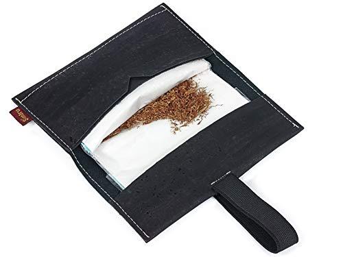 SIMARU Borsello porta tabacco in sughero estremamente stabile portatabacco in sughero borsello portatabacco busta portatabacco (nero)