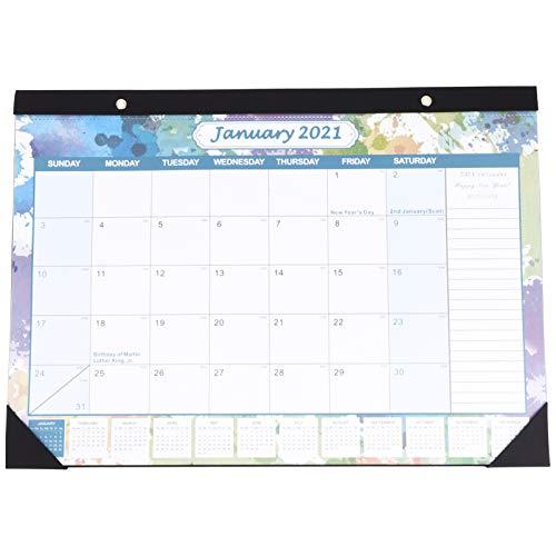 NUOBESTY Calendario 2021 Calendario de Pared Mensual 2021 Calendario Mensual de Almohadilla de Escritorio Bloques Grandes con Renglones Perfectos para La Planificación de La Escuela La