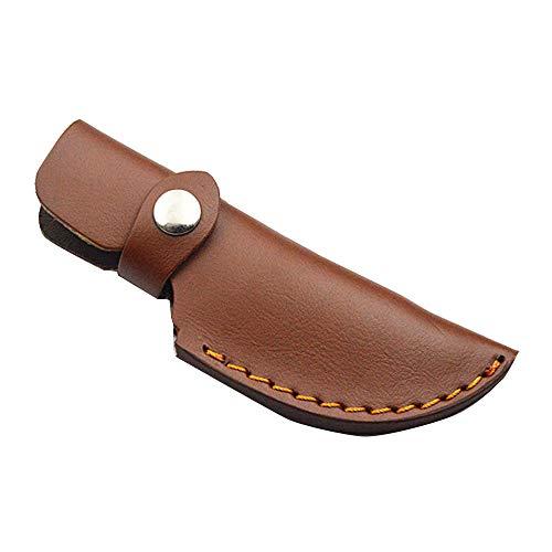 CXZC 16cm Funda de cuchillo con presilla para cinturón Porta cuchillos de cuero Funda Bolsa de vaina de hoja fija para caza, camping, exterior - marrón oscuro