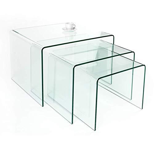 Invicta Interior 3er Set Glas Couchtisch FANTOME 60cm Beistelltische transparent Glastisch Tische