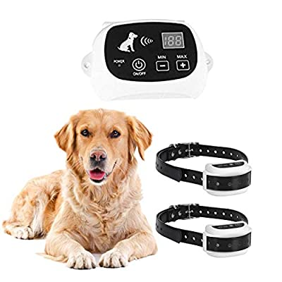 ELLASSAY Wireless Dog Fence System,Keep Pet Harmless/Safe,Radius Cover up to 550YD The Diameter,1 Non-Rechargeable Transmitter, 2 Rechargeable/Waterproof Collar Receiver.(2 Dogs System)