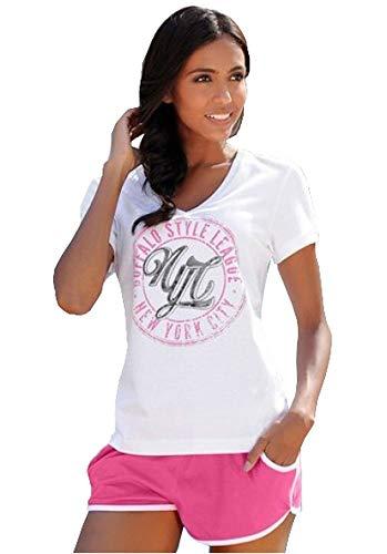 Buffalo Damen Shorty Pyjama Schlafanzug (Weiß/Pink, 44/46)