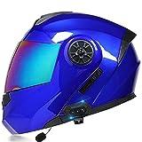 Casco de motocicleta de cara completa modular integrado con Bluetooth Casco de motocross de doble visera para hombres y mujeres adultos Casco de protección aprobado DOT,C,S 55~56cm