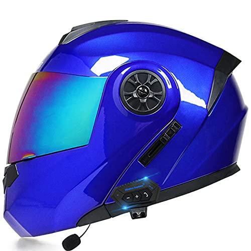 Casco de motocicleta de cara completa modular integrado con Bluetooth Casco de motocross de doble visera para hombres y mujeres adultos Casco de protección aprobado DOT,1,S 55~56cm