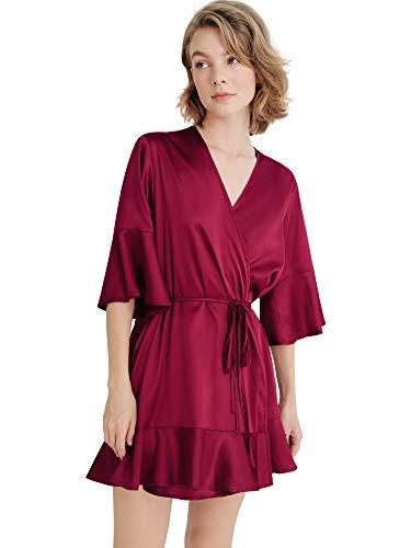 SIORO Bridesmaid Robe Ruffle Hem Belted, Women's Silk Short Bathrobe Satin Kimono for bridesmaids, Burgundy, Large / X-Large