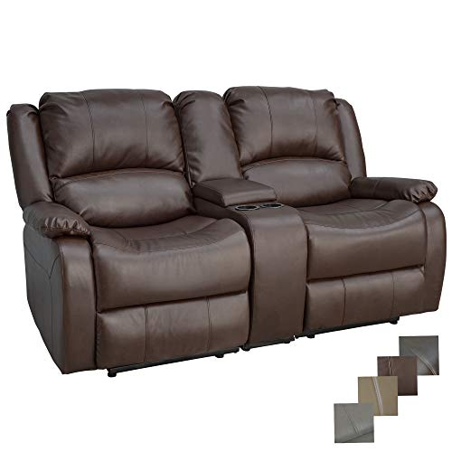 RecPro Charles Collection | 67' Double Recliner RV Sofa & Console | RV Zero Wall Loveseat | Wall Hugger Recliner | RV Theater Seating | RV Furniture | RV Living Room (Slideout) Furniture | Mahogany
