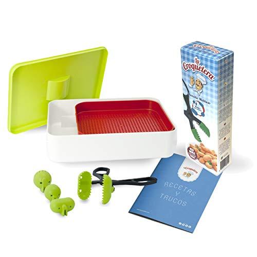 La Croquetera LC043 Kit PREMIUM: Utensilio Multiusos 4 moldes Intercambiables (croquetas, albóndigas, Sushi) y Cedazo para cribar harina, más Trucos y Consejos, Colores aleatorios