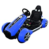 Motor Go Kart for Kids - 12v Electric Double Drive Ride on Kart Race Car Drifting, Kids Motorcycle Toys with Seat Belts and Explosion Proof Soft Wheels, Safe Durable, Great Gift for Children (Blue)
