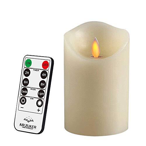 Air Zuker LED Kerzen mit beweglicher Flamme - Echt Flammen Effekt LED Echtwachskerzen 10 Key Fernbedienung und Timer[Klassische Stumpenkerze, Elfenbeinfarbe] - 8 cm * 12.5 cm