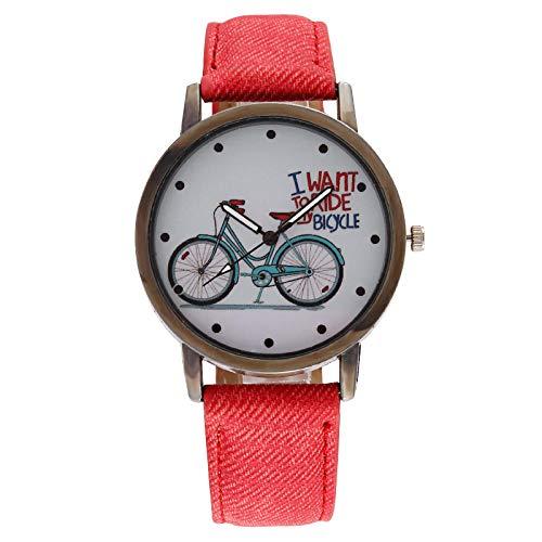 Powzz ornament Armbanduhren Fahrrad Denim Gürtel Herrenuhr Herrenuhr Farbe Gürtel-Rot