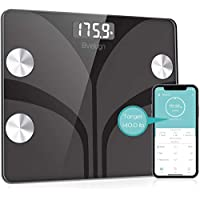 Beiugn Smart Wireless Digital Bathroom BMI Weight Scale with Smartphone App (Black)