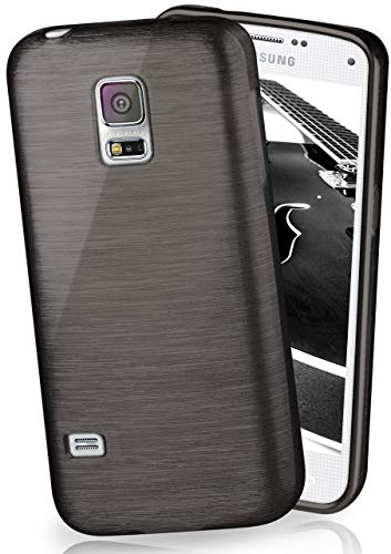 moex Stylische Brushed Aluminium-Optik und starker Grip | Ultra dünne Silikonhülle passend für Samsung Galaxy S5 / S5 Neo in Schwarz