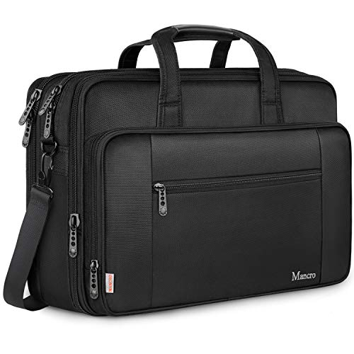 Mancro 17 Zoll Laptop Tasche, Groß Business Aktentasche Wasserabweisend Computer Laptop (43 cm) Tasche Umhängetasche Erweiterbar Schultertasche Geschenk für Frauen Männer Schule Reisen, Schwarz