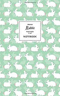 Rabbit Notebook - Ruled Pages - 5x8 - Premium: (Pastel Green Edition) Fun animal notebook 96 ruled/lined pages (5x8 inches...