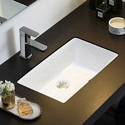Lavabo Bajo Encimera o Soto Encastre de Porcelana Blanca Rectangular Roma de 54x34x17cm con Rebosadero para Mueble de Baño. Diseño Atemporal combinable con Cualquier Ambiente