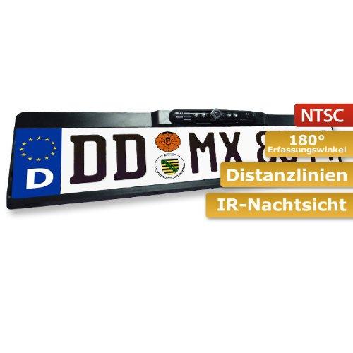"""Universal Kennzeichenunterlagen Front-/ & Rückfahrkamera (NTSC, 150°, ¼"""" CMOS-Sensor, IP67) inkl. Nachtsicht (4X Infrarot-LED s), Distanzlinien & Spiegelfunktion"""