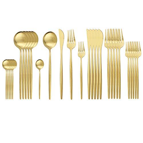 30 Stück Titanium Regenbogen Farbe Plated Besteck, 30 Stück Bunte Besteck Set, Multi Farbe Besteck Set Besteck, Service für 6 (Gold)