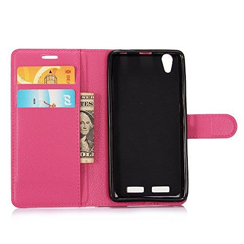 MINGYOUNG Funda para Lenovo K10(K10e70) Flip Cover Cuero Billetera Carcasa Card Slot Kickstand Magnética Case para Lenovo K10(K10e70) (Rosa Caliente)