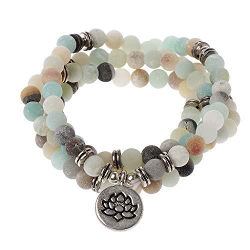 junengSO 108 Piedra Natural Mala Beads Wrap Pulsera Collar para Yoga Budista Rosario Oración Charm Bracelet