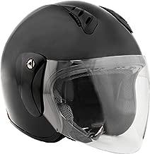 Fuel Helmets SH-WS0015 Unisex-Adult Open Face Helmet with Shield (Gloss Black, Medium)