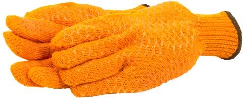 Forney 53285 String Knit Honeycomb PVC Grip Men's Gloves, Large, Orange