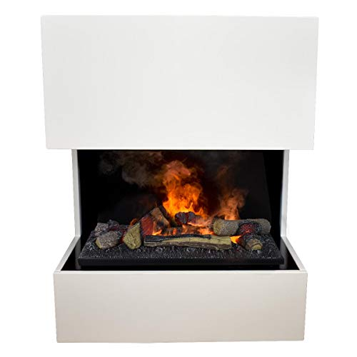 GLOW FIRE Kästner Elektrokamin Opti Myst Cassette 600, 3D Wasserdampf Feuer, elektrischer Standkamin mit Fernbedienung | Regelbarer Flammeneffekt, 70 cm, Weiß