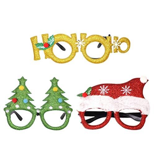 Bonheur 3PCS Frohe Weihnachten Glas-Rahmen Weihnachtsbaum Weihnachtsmütze Brillen Weihnachten Cosplay Zubehör fhgt