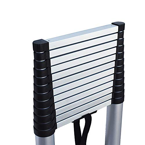 findmall Aluminum Telescopic Extension Ladder Folding Step One-Button Inward Sliding Retraction 10.5FT / 3.2M 12.5FT / 3.8M 14.5FT / 4.4M Multi-Use Non-Slip (12.5FT / 3.8M)