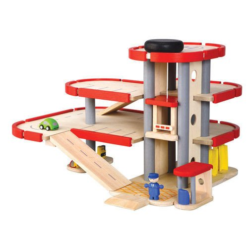 Wooden Toy Parking Garage with Elevator