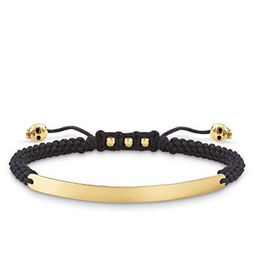 Thomas Sabo Damen-Armband Love Bridge Totenkopf 925 Sterling Silber 750 gelbgold vergoldet Nylon schwarz Länge von 14.5 bis 21 cm Brücke 5 cm LBA0050-848-11-L21v
