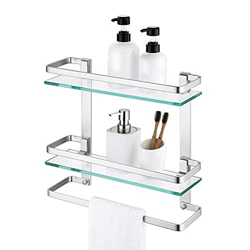 Amazon Brand - Umi EstanterÍa Baño Estante Baño Cristal 8MM-Grueso Cristal Templado 2 Pisos con Toallero Balda Baño Pared Aluminio Plata, A4127B