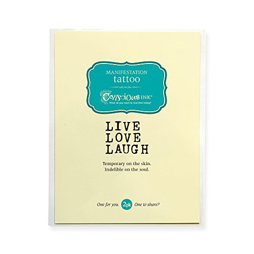 CONSCIOUS INK MANIFESTATION TATTOO 2-PACK'LIVE LOVE LAUGH - SIMPLE' (SET OF 2)