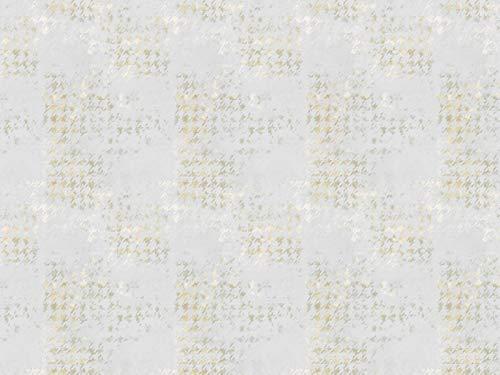Gardinenstoff Tüll Organza LA VITA Muster Pepita Vintage gelb hochwertiger Stoff als Meterware halbtransparent