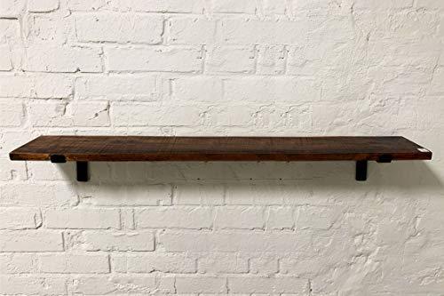 STUFF Loft Wandregal Regal Schweberegal aus recyceltem Holz im Vintage-Design mit Halterung aus Stahl - Maße: 120x18x2 cm (LxDxH) FSC-Zertifiziertes Recycling Produkt