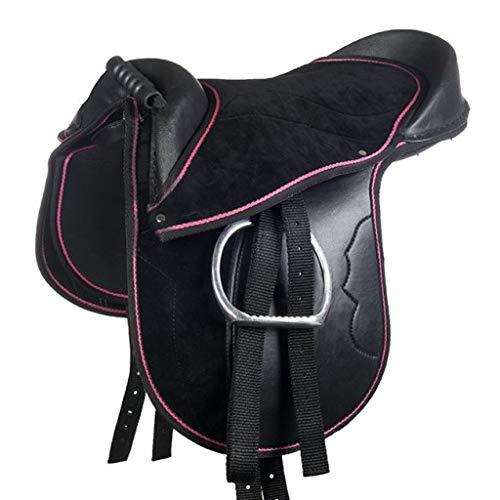 """HKM Shetty Sattel -Funny Horses-, schwarz/pink, 12"""""""