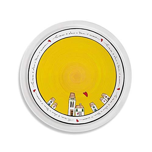 EGAN, Piatto Pizza Le Casette Giallo D.30
