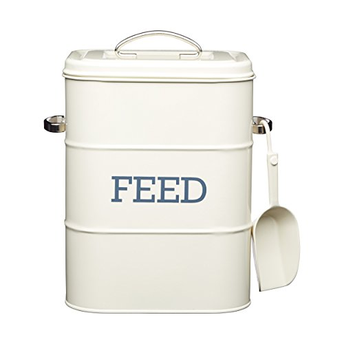 "Cat / Dog / Bird Feed Storage Tin - 3 kg - With 70 g scoop - Cream 7.5"" x 6"" x 10.5"" / 19 x 16 x 27 cm"