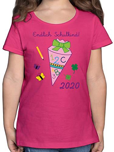 Einschulung und Schulanfang - Endlich Schulkind 2020 Mädchen Schultüte rosa - 128 (7/8 Jahre) - Fuchsia - 1. klasse Tshirt - F131K - Mädchen Kinder T-Shirt
