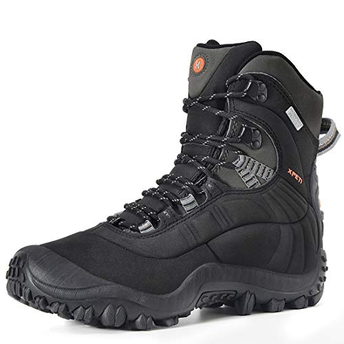Manfen Men's Thermator Mid-Rise Waterproof Hiking Boots Trekking Outdoor Boots Black 9.5