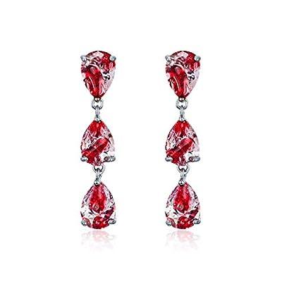 Bloody CZ Zirconia Teardrop Dangle Earrings, Handmade Lightweight Earrings Gifts for Women Girls, Halloween Party Jewelry
