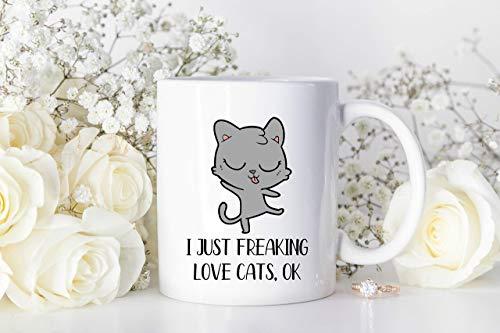 I Just Freaking Love Cats Taza personalizada de la mamá del gato Taza loca de la dama del gato Taza de la mamá del gato Taza del gato Taza del animal doméstico del gato Regalo del amante de los animal