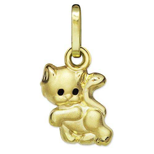 CLEVER SCHMUCK Goldener Kleiner Kinder Anhänger Mini Katze 8 mm Augen schwarz seidenmatt teils glänzend 333 Gold 8 Karat