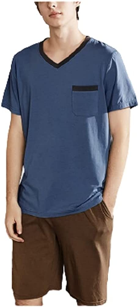 Men's Pajama Sets Modal Soft 2 Piece V-neck Short Sleeve Top and Shorts for Loungewear Sleepwear with Pockets