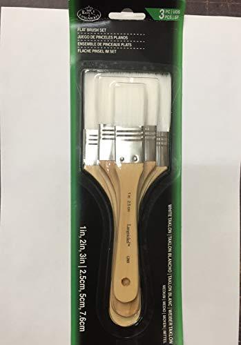 Künstler-Pinsel-Set, 3verschiedene Größen, 2,5/5,1/7,6cm, weich und fest, zur Abdeckung großer Bereiche RART150 - White Taklon