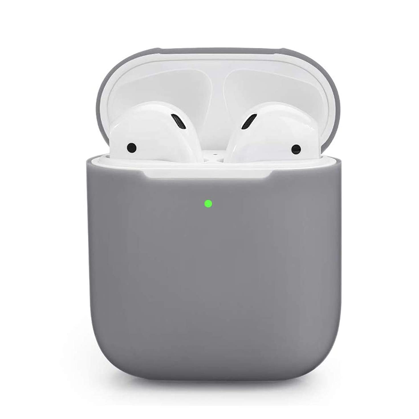 ZALU Compatible for AirPods Case, 0.8mm Ultra-Thin Version, Premium Protective Silicone Cover Skin for AirPods Charging Case 2 & 1 [Front LED Visible] [Wireless Rechargeable](Grey)