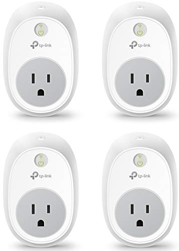 Kasa Smart Plug by TP-Link, Smart Home WiFi Outlet works with Alexa, Echo, Google Home & IFTTT, No Hub Required, Remote Control, 15 Amp, UL Certified, 4-Pack (HS100P4),White